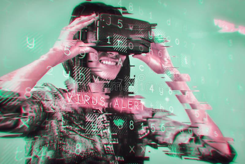 使用oculus的妇女的综合图象 免版税库存照片