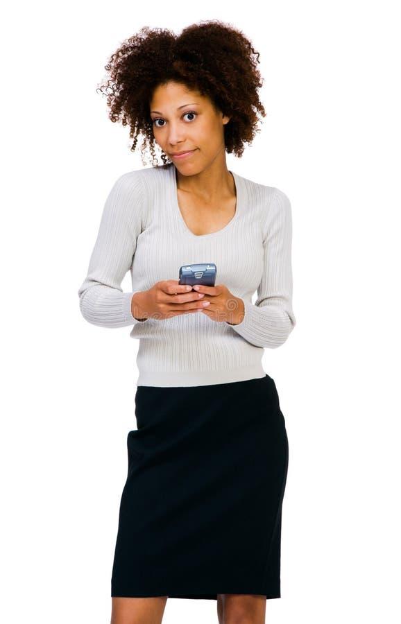 使用PDA的非裔美国人的妇女 免版税库存图片