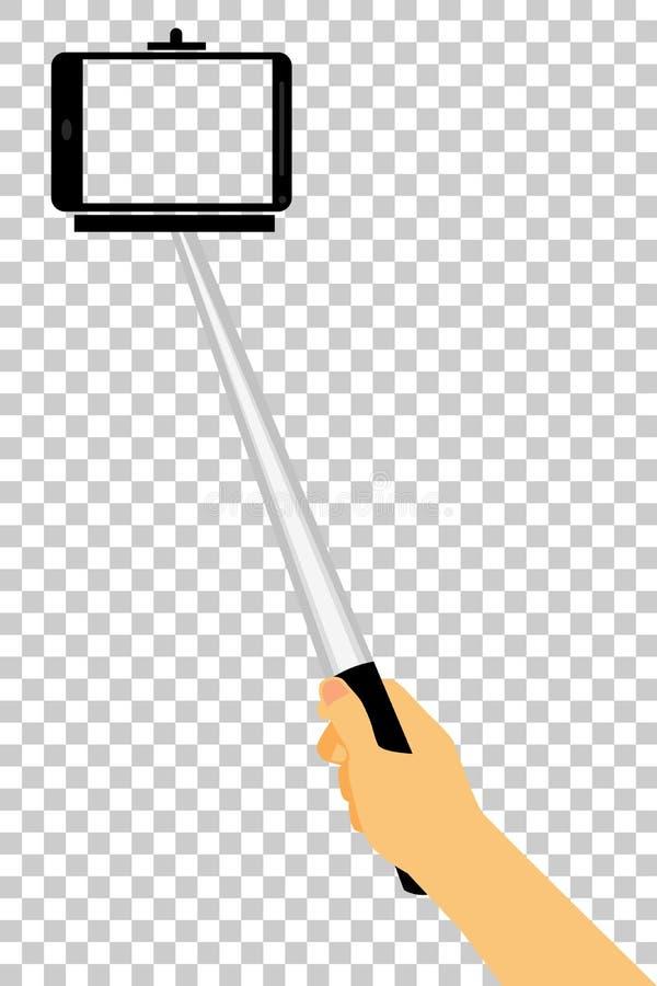 使用Selfie棍子,手采取自画象,在透明作用背景 皇族释放例证