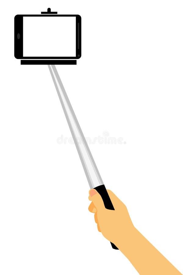 使用Selfie棍子,手采取自画象,隔绝在白色 皇族释放例证
