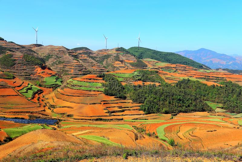 使目炫东川红色土壤风景区 图库摄影