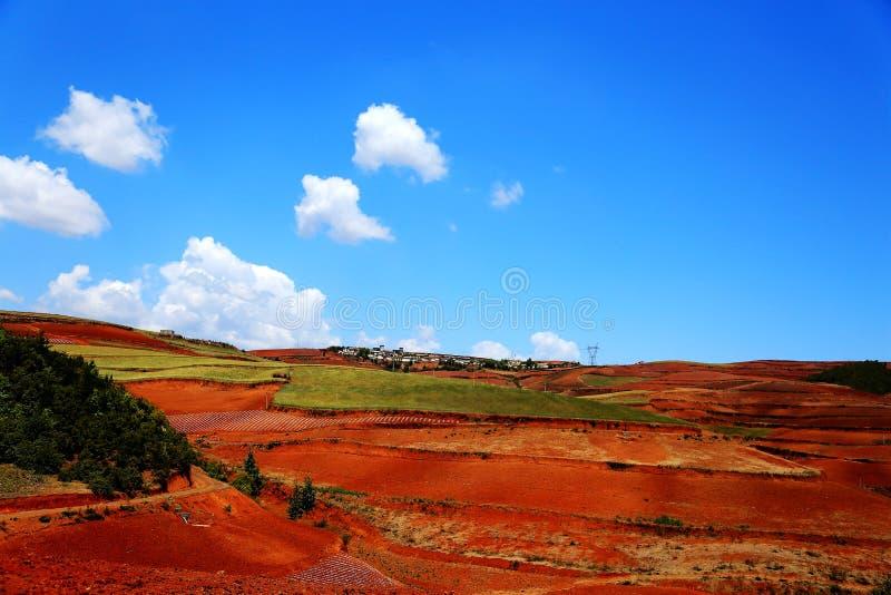 使目炫东川红色土壤风景区 库存图片