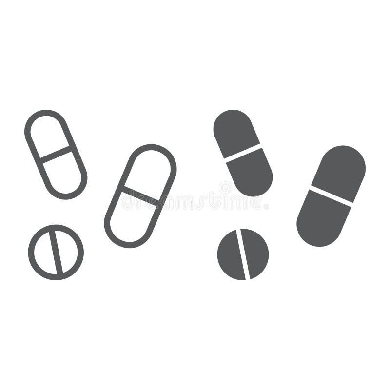 使线服麻醉剂,并且纵的沟纹象、药房和医学,药片签署,向量图形,在白色背景的一个线性样式 向量例证