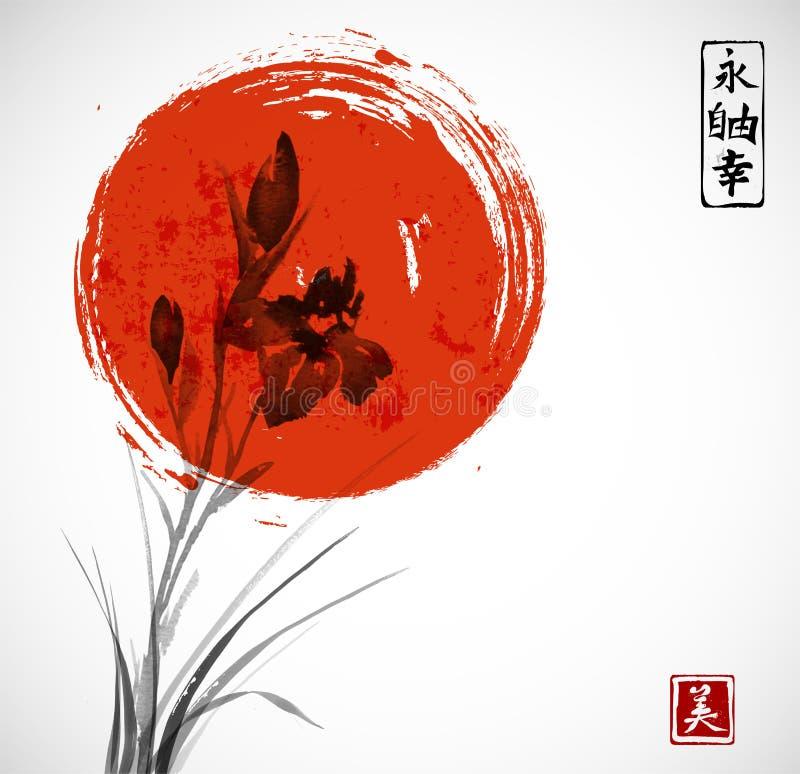 使花和大红色太阳现虹彩手拉与墨水 向量例证