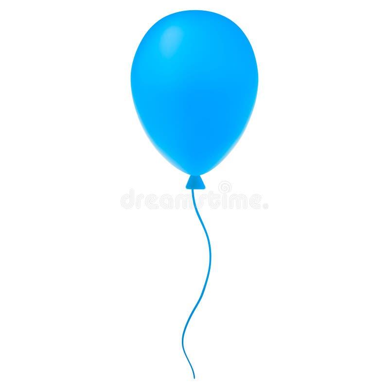 使蓝色气球的3D被隔绝在白色背景 皇族释放例证