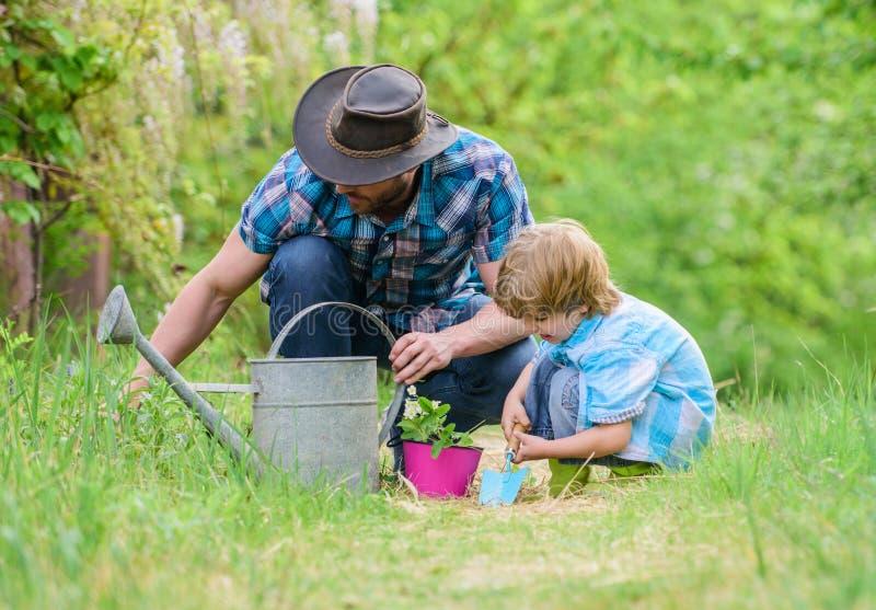 使行星更加绿色 r 照料植物 天地球 男孩和父亲本质上 园艺工具 免版税图库摄影