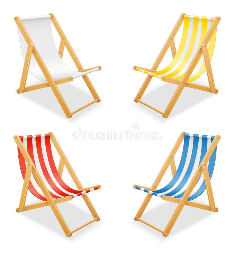 使轻便折叠躺椅靠岸由木头和织品储蓄传染媒介illustrati制成 向量例证