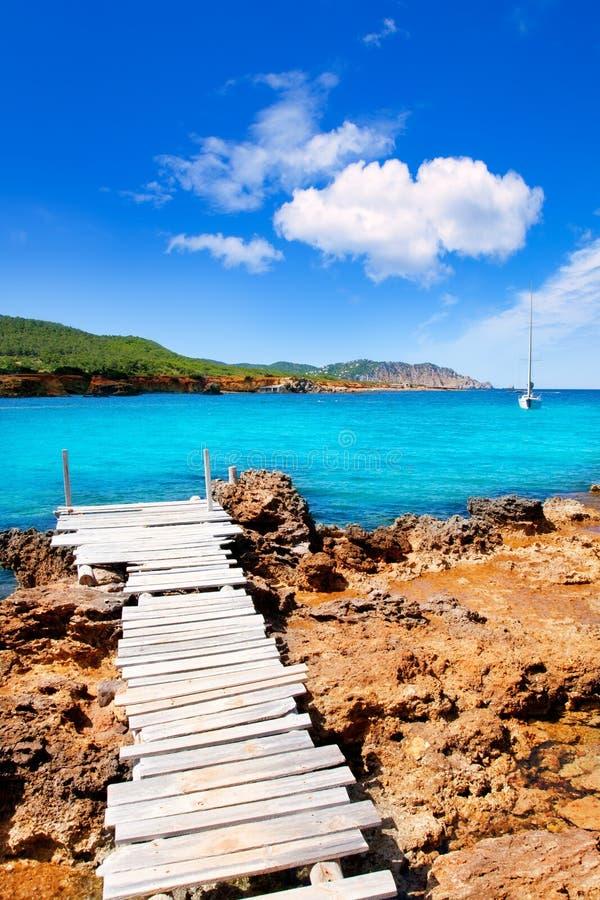 使运河d des en ibiza海岛lleo marti pou靠岸 库存照片