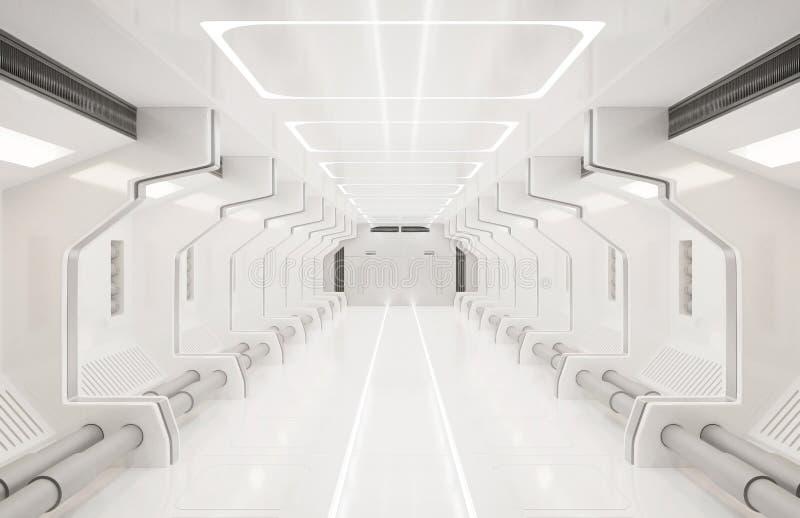 使这个图象的元素3D被装备,太空飞船白色内部,隧道,走廊,走廊 皇族释放例证