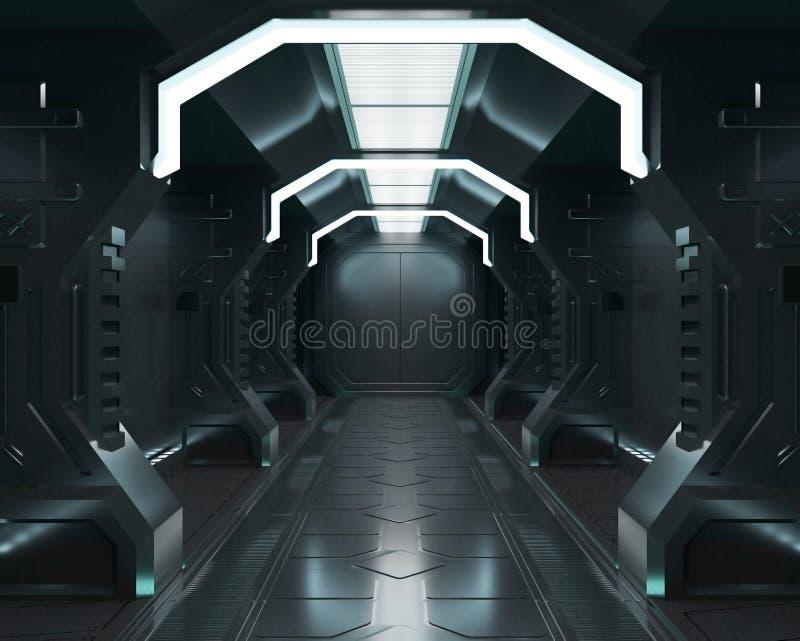 使这个图象的元素3D被装备,太空飞船白色内部,隧道,走廊,走廊 向量例证