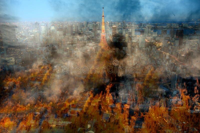 使问题,火的城市兴奋的Globle 免版税图库摄影