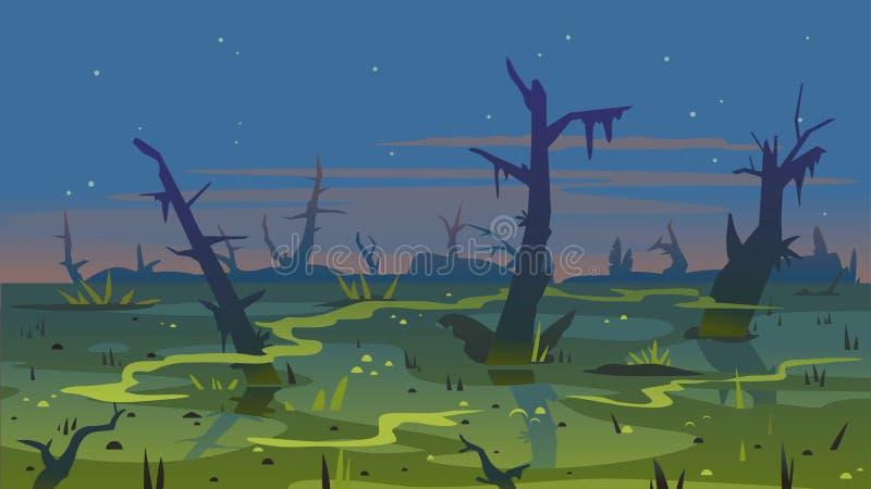 使黄昏风景背景陷入沼泽 皇族释放例证