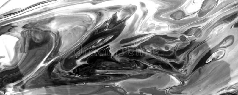 使黑油漆垂直有大理石花纹的液体构造汇集 难看的东西丙烯酸酯的流动污点 单色油漆绘画的技巧和 向量例证