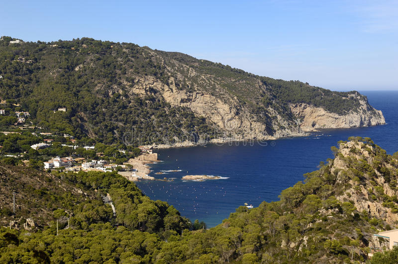 使Begur、Fornells和Aiguablava环境美化,肋前缘B海滩  库存图片