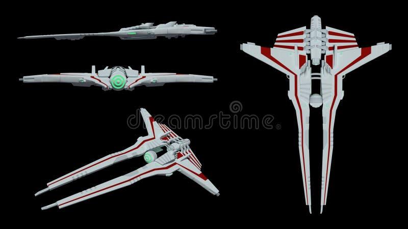 侈奢的未来派太空飞船模型 3d翻译 向量例证