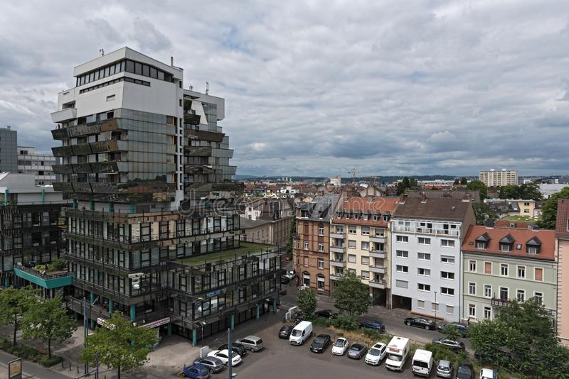 例外办公室和商业大厦在offenbach上午主要,黑森,德国 免版税库存图片