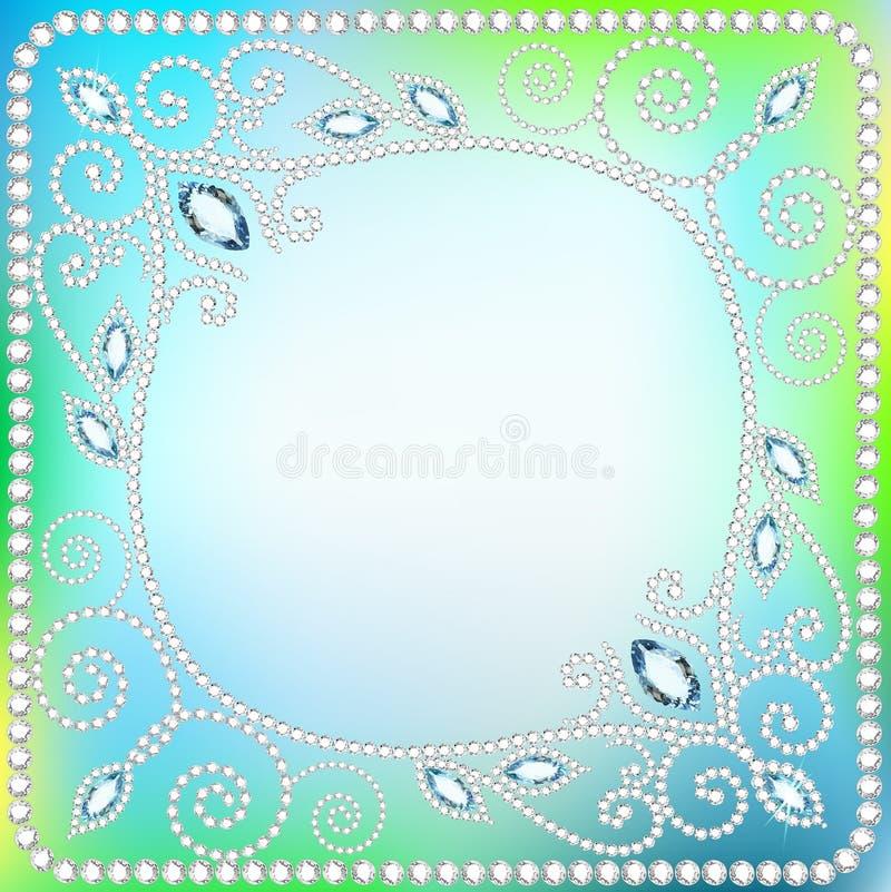 例证与珍贵的stonesÂŒ的装饰品的背景框架 库存例证