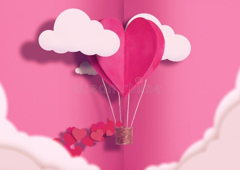 例证为华伦泰` s天 居住在云彩和称赞爱中的居住的心形的气球珊瑚飞行 爱的概念 图库摄影