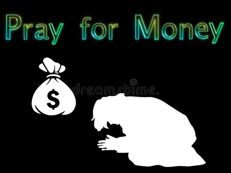 例证为金钱祈祷 库存例证