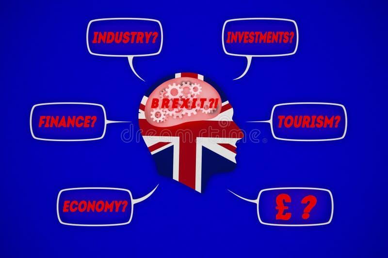 例证人考虑brexit后果的,英国,英国 免版税库存图片