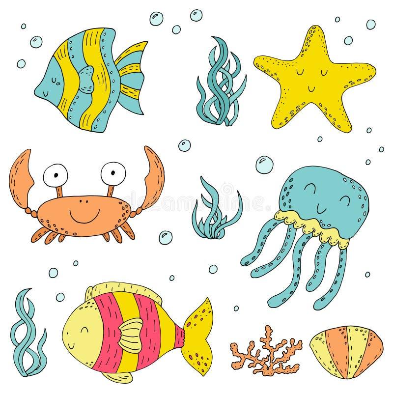 例证传染媒介乱画套海洋生物的元素 水下的世界收藏 象和标志手图画剪影 皇族释放例证