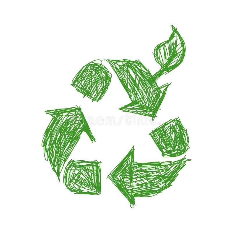例证传染媒介手拉的乱画绿色回收与le的标志 向量例证