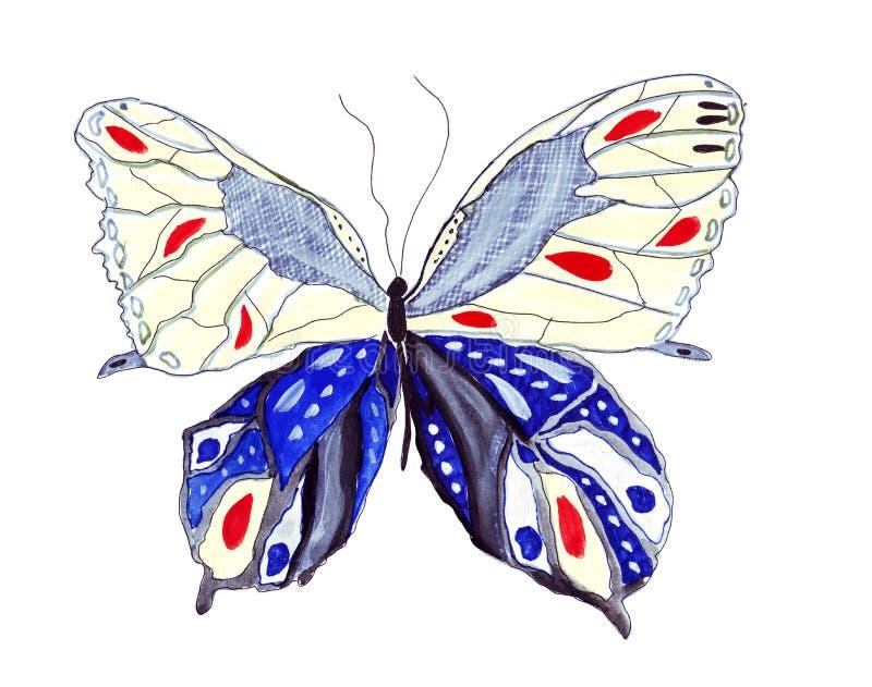例证剪影被画的蝴蝶 免版税图库摄影