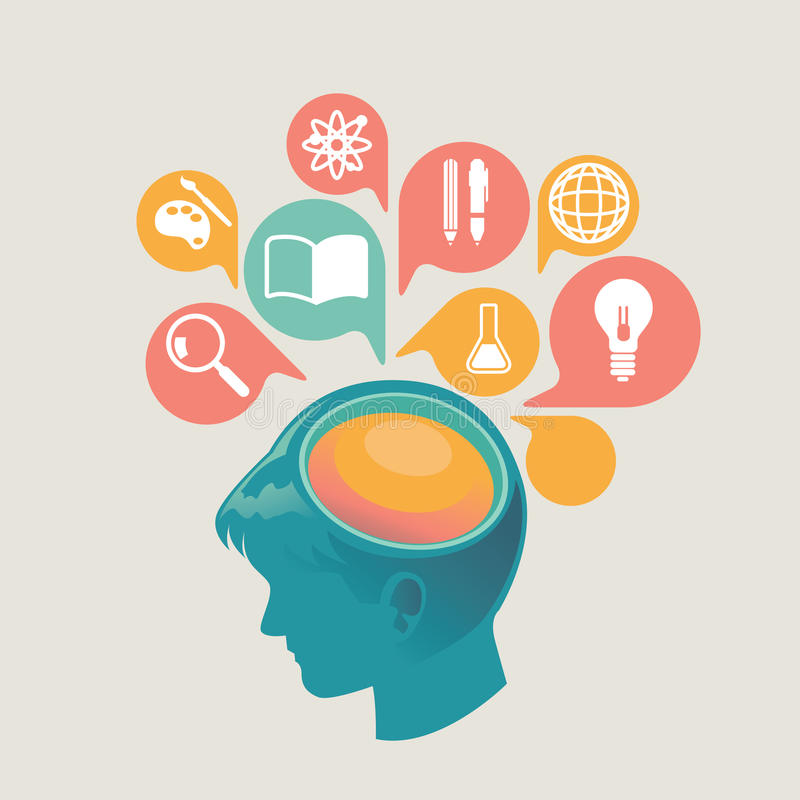 例证和网的设计观念象和流动服务和apps 教育的,网上教育象,在网上学会 免版税库存图片