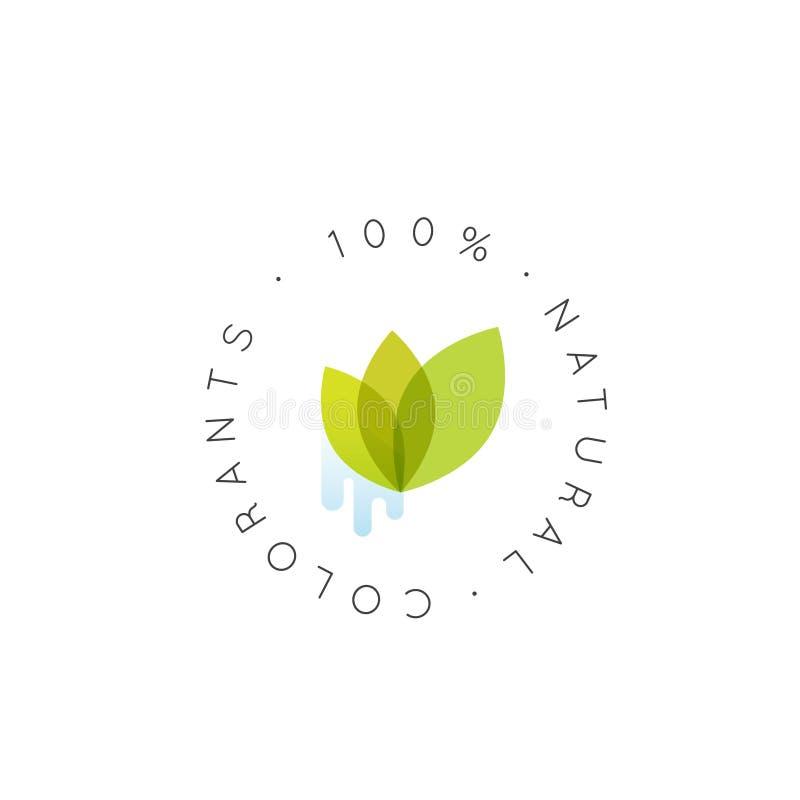 例证商标徽章100%自然染料,新鲜被证明的有机, Eco产品,与叶子的生物成份标签徽章,绿色 向量例证