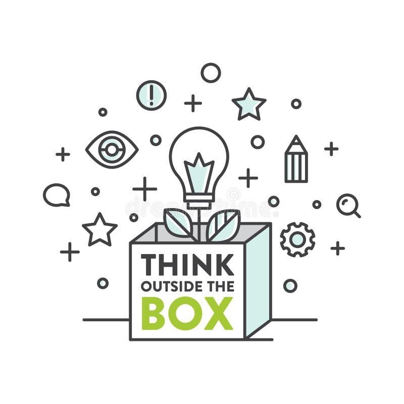 例证在箱子概念,想象力,聪明的解答之外认为 向量例证