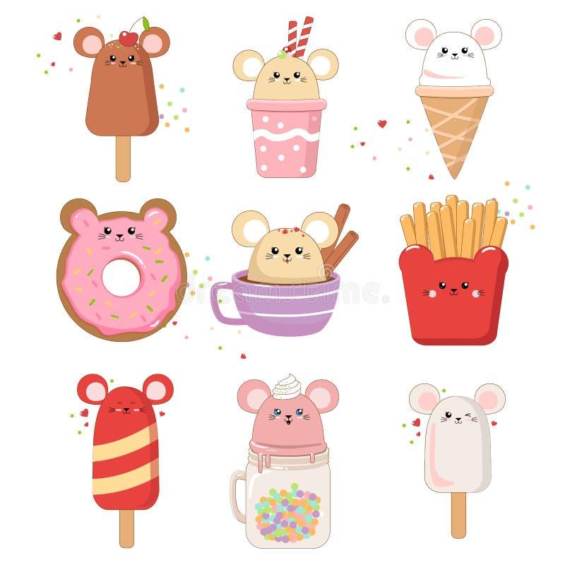 例证套以一逗人喜爱的老鼠冰淇淋的形式食物 Kawaii在贺卡的白色隔绝的老鼠2020传染媒介 向量例证