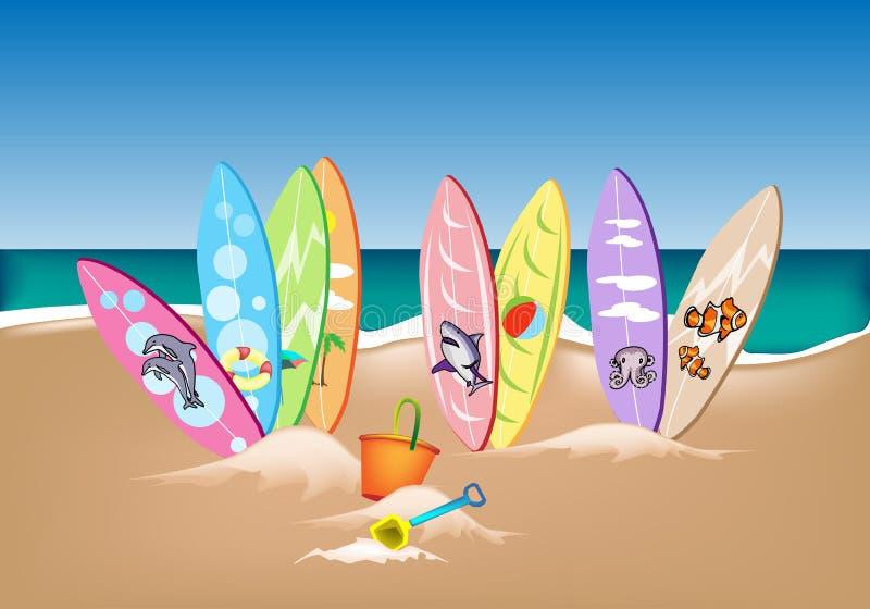 例证套在海滩的冲浪板 向量例证