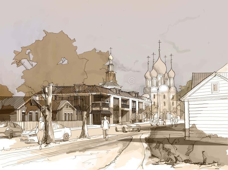 例证小镇徒手画的水彩图画和绘画  皇族释放例证