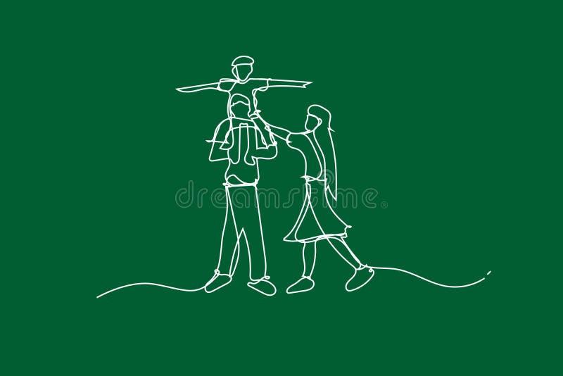 例证幸福家庭获得与连续的空白线路绘画风格的乐趣,画使用在庭院公园的孩子空白线路, 向量例证