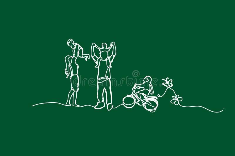 例证幸福家庭获得与连续的空白线路绘画风格的乐趣,画使用在庭院公园的孩子空白线路, 库存例证