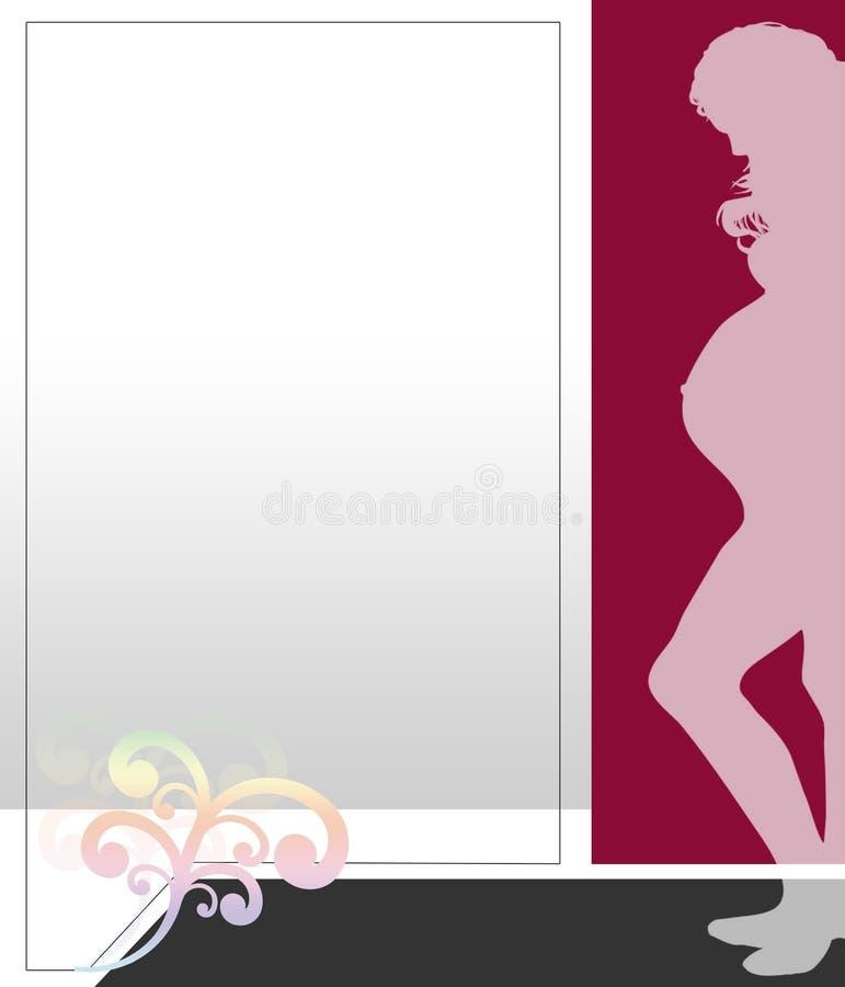 例证怀孕的红色妇女 库存照片