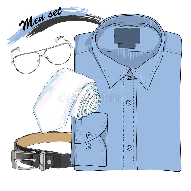 例证手拉,乱画协调衬衣,领带 库存例证