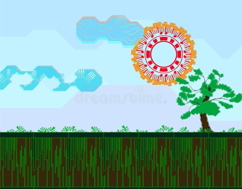 例证抽象背景形状树、云彩、天空、山、草和太阳 库存例证