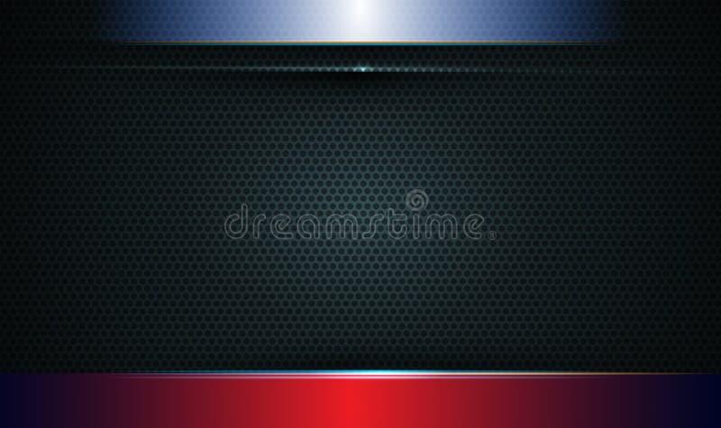 例证抽象蓝色,红色和黑金属与光线和光滑的线 金属背景的框架设计 皇族释放例证