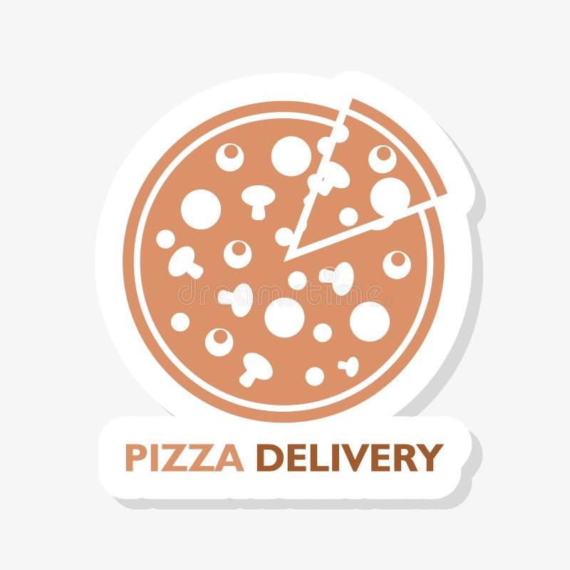 例证整个圆的热的比萨的,从比萨店菜单的切片三角贴纸商标 库存例证