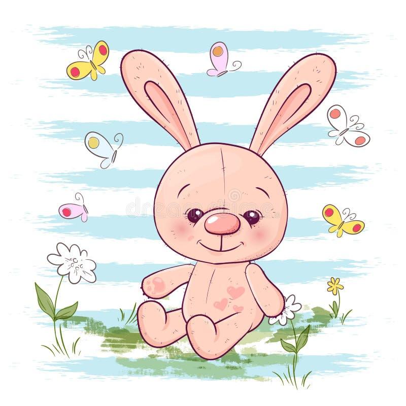 例证明信片逗人喜爱的小的野兔花和蝴蝶 在衣裳和儿童房间的印刷品 向量例证