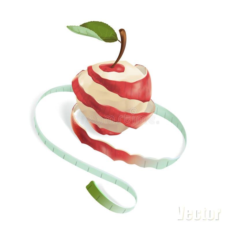例证显示一个苹果,在螺旋被切 皇族释放例证