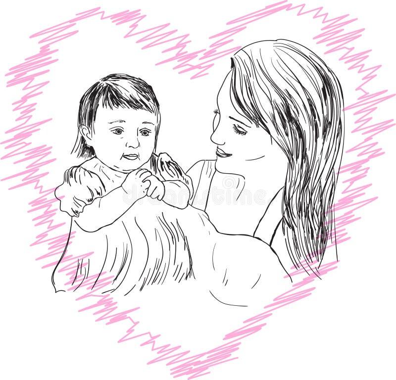 例证显示有一个女儿的一个母亲在一个母亲的题目有女儿的 皇族释放例证