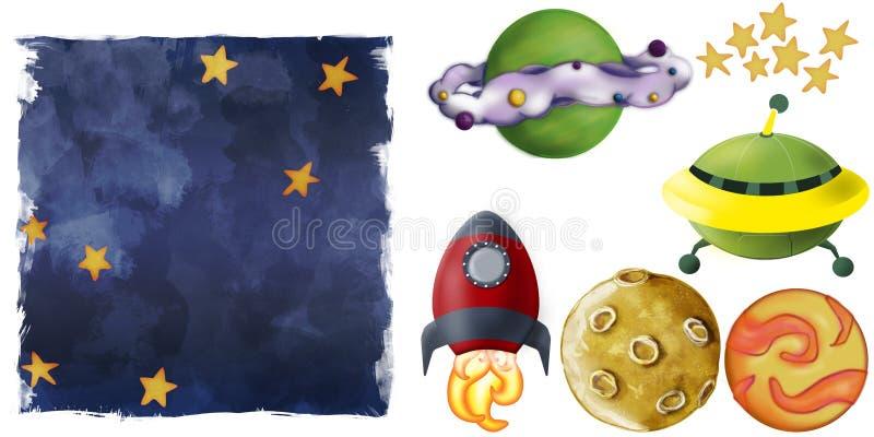 例证月亮空间星形 免版税库存图片