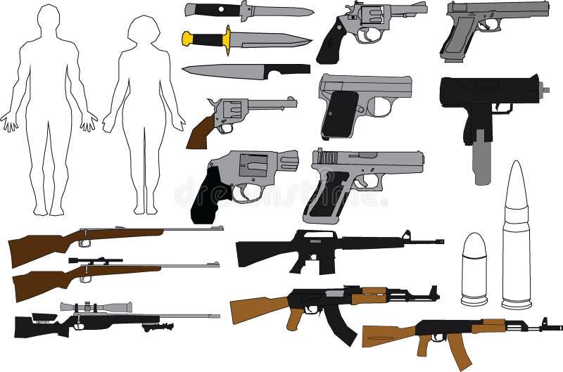 例证枪和步枪 免版税库存图片