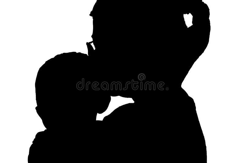 例证母亲和孩子爱家庭背景白色 皇族释放例证