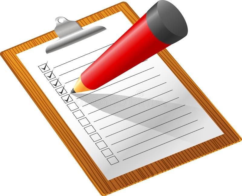 例证清单有铅笔白色背景 库存例证
