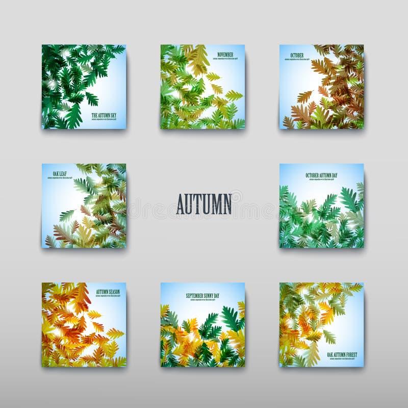 例证秋天主题 背景蓝色留下橡木天空 向量背景 向量例证