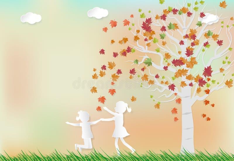 例证秋天纸艺术与使用在槭树下的女孩的 库存例证