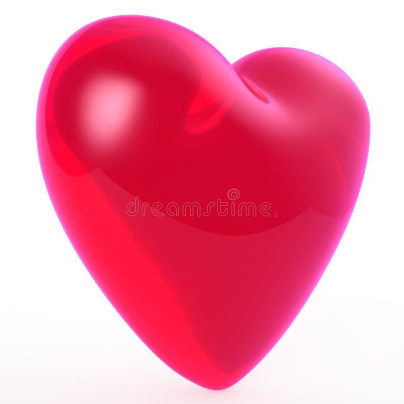 例证红色玻璃心脏标志 库存例证